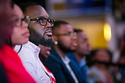 """Students at North Carolina Agricultural and Technical State University listen as master communicator, multidimensional businessman and international thought leader T.D. Jakes discusses """"Living Your Best Life"""" at the Chancellor's Speaker Series on Thursday, April 11, 2019.<br /><br />(Chris English/Tigermoth Creative)"""