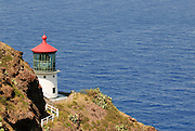 Ships are safe at the east end of Oahu with the Makapu'u Lighthouse situated high on a clilff to warn them where the shore line is.