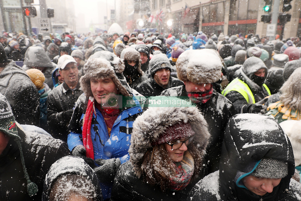 February 3, 2018 - Minneapolis, MN, USA - Super Bowl Live attendees make their way down Nicollet Mall on Saturday, Feb. 3, 2018, in downtown Minneapolis. (Credit Image: © Anthony Souffle/TNS via ZUMA Wire)