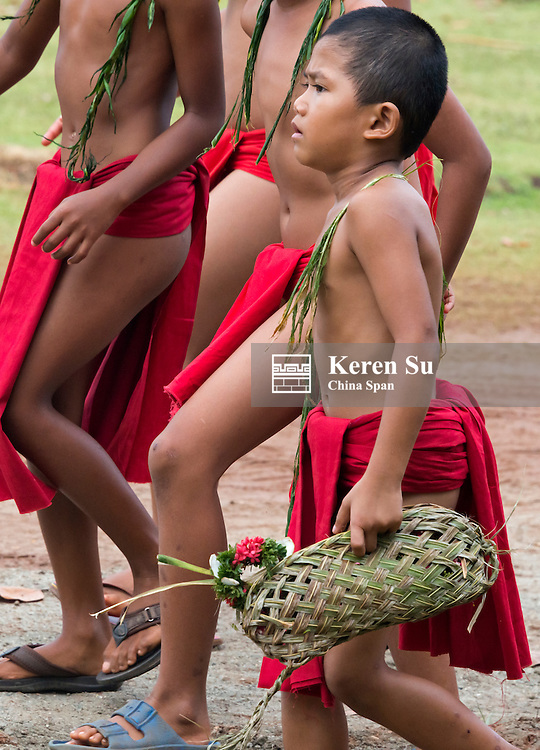 Yapese boys in traditional clothing at Yap Day Festival, Yap Island, Federated States of Micronesia