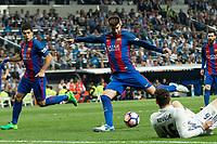 Gerard Pique of FC Barcelona during the match of La Liga between Real Madrid and Futbol Club Barcelona at Santiago Bernabeu Stadium  in Madrid, Spain. April 23, 2017. (ALTERPHOTOS)