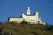 Oberes Mittelrheintal / Upper Middle Rhine Valley <br /> <br /> The Rhine Gorge is a popular name for the Upper Middle Rhine Valley, a 65 km section of the River Rhine between Koblenz and Bingen in Germany. It was added to the UNESCO list of World Heritage Sites in June 2002 for a unique combination of geological, historical, cultural and industrial reasons.<br /> <br /> The region's rocks were laid down in the Devonian period and are known as Rhenish Facies. This is a fossil-bearing sedimentary rock type consisting mainly of slate. The rocks underwent considerable folding during the Carboniferous period. The gorge was carved out during a much more recent uplift to leave the river contained within steep walls 200 m high, the most famous feature being the Loreley.<br /> <br /> On the photo:  The Marksburg is a fortress above the town of Braubach in Rhineland-Palatinate, Germany. It is the only medieval castle of the Middle Rhine that has never been destroyed. It is one of the principal sites of the UNESCO World Heritage Rhine Gorge. The fortress was used for protection rather than as a residence for royal families.<br /> <br /> The castle was built to protect the town of Braubach and to reinforce the customs facilities. It was built about 1117 and explicitly first mentioned in 1231. In 1283 Count Eberhard of Katzenelnbogen bought it and through the 14th and 15th century the high noble Counts rebuilt the castle constantly.[1] 1479 the territories of the Counts of Katzenelnbogen (male line extinct) went to the Count of Hessen.