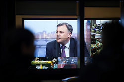 © London News Pictures. 26/01/2014. London, UK.  Shadow Chancellor of the Exchequer ED BALLS  seen on a large viewing screen at the entrance to BBC Broadcasting House in London while appearing on the The Andrew Marr show on BBC One. Photo credit: Ben Cawthra/LNP