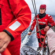 Leg 9, from Newport to Cardiff, day 02 on board MAPFRE, Sophie Ciszek at the back of the boat with the main sheet. 21 May, 2018.