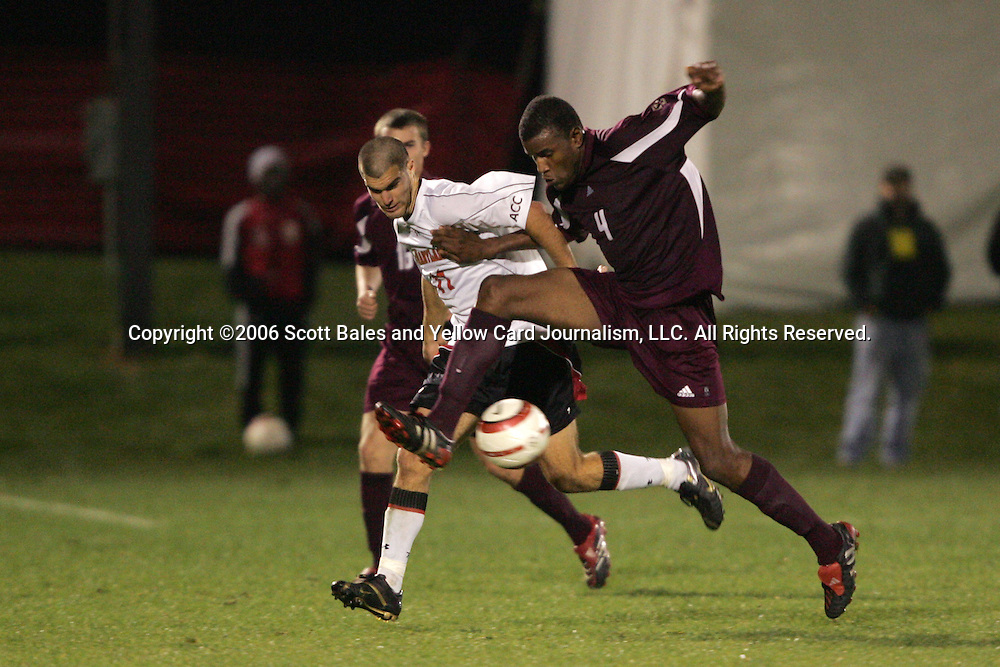 1 November 2006: Boston College's Sherron Manswell (4) and Maryland's Graham Zusi (11). Maryland defeated Boston College 1-0 in double overtime at the Maryland Soccerplex in Germantown, Maryland in an Atlantic Coast Conference college soccer tournament quarterfinal game.