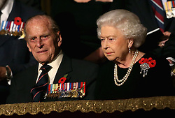The Duke of Edinburgh and Queen Elizabeth II during the annual Royal British Legion Festival of Remembrance at the Royal Albert Hall in London, which commemorates and honours all those who have lost their lives in conflicts.