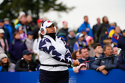 Auchterarder, Scotland, UK. 14 September 2019. Saturday morning Foresomes matches  at 2019 Solheim Cup on Centenary Course at Gleneagles. Pictured; Lizette Salas of USA tee shot on 10th hole. Iain Masterton/Alamy Live News
