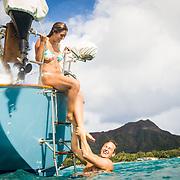 Elise Crispen and boyfriend Kyle on Makani in front of Waikiki, Honolulu, Hawai'i.