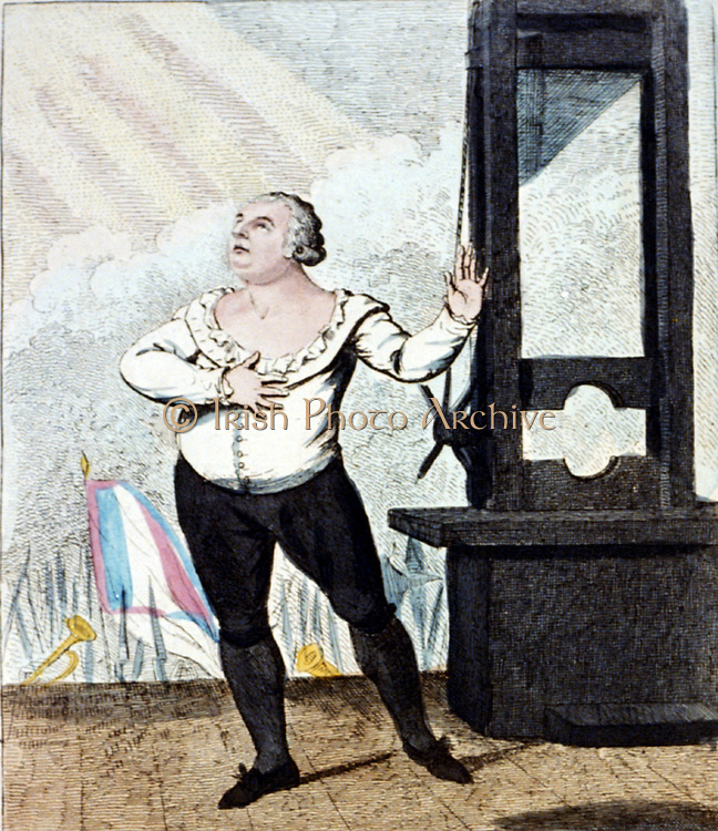 The martyrdom of Louis XVI , King of France -I forgive my enemies, I die innocent!!!' Isaac Cruikshank, 1798. Louis in dramatic pose on the scaffold, next to a guillotine, about to be executed.  France French Revolution Regicide Execution