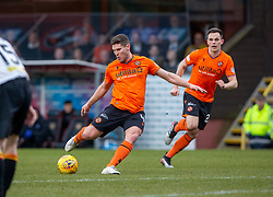 Dundee United's Dillon Powers scoring their first half goal. half time : Dundee United 1 v 0 Partick Thistle, Scottish Championship game played 7/3/2020 at Dundee United's stadium Tannadice Park.