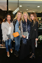 Left to right, EMILY HALE, SARAH HEANEY, KELLY COOPER-BARR and ROSHI KAMDAR at the opening of the new Gismondi Jewellery boutique, 14 Albermarle Street, London on 9th October 2014.