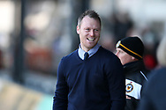 Michael Flynn, the manager of Newport county looks on. EFL Skybet football league two match, Newport county v Exeter City  at Rodney Parade in Newport, South Wales on New Years Day, Monday 1st January 2018.<br /> pic by Andrew Orchard,  Andrew Orchard sports photography.