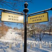 A snow-covered Arlington National Cemetery
