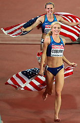 LONDON, Aug. 12, 2017  Emma Coburn (Front) and Courtney Frerichs of the United States celebrate after Women's 3000m Steeplechase Final on Day 8 of the 2017 IAAF World Championships at London Stadium in London, Britain, on Aug. 11, 2017. Emma Coburn claimed the title with 9 minutes 2.58 seconds. Courtney Frerichs took the silver medal with 9 minutes 3.77 seconds. (Credit Image: © Luo Huanhuan/Xinhua via ZUMA Wire)