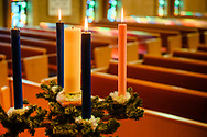 The advent wreath on Wednesday, Dec. 9, 2020, at Zion Lutheran Church, Maryland Heights, Mo. LCMS Communications/Erik M. Lunsford