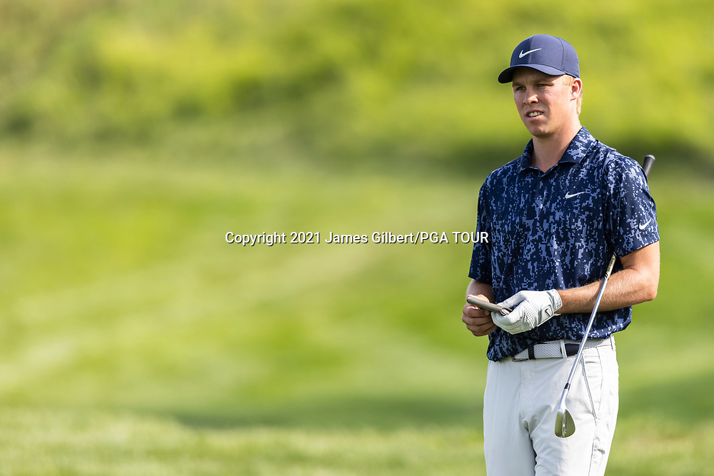 NEWBURGH, IN - SEPTEMBER 03: Nick Hardy looks on from the 18th hole during the second round of the Korn Ferry Tour Championship presented by United Leasing and Financing at Victoria National Golf Club on September 3, 2021 in Newburgh, Indiana. (Photo by James Gilbert/PGA TOUR via Getty Images)