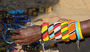 Beads on an arm of a Samburu Maasai woman. Samburu Maasai is an ethnic group of semi-nomadic people Photographed in Samburu, Kenya