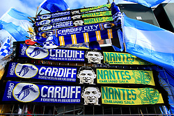 A view of half and half scarves placed outside Cardiff City Stadium in tribute to Emiliano Sala during the Premier League match at the Cardiff City Stadium.