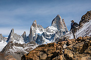 """Mount Fitz Roy (3405 m or 11,171 ft elevation) in Los Glaciares National Park, Santa Cruz Province, Argentina, Patagonia, South America. The trail called Sendero Fitz Roy leads from El Chalten to Laguna de Los Tres (20 km round trip with 1100 meters gain). Monte Fitz Roy is also known as Cerro Chaltén, Cerro Fitz Roy, or Mount Fitz Roy. The first Europeans recorded as seeing Cerro Fitz Roy were the Spanish explorer Antonio de Viedma and his companions, who in 1783 reached the shores of Viedma Lake. In 1877, Argentine explorer Francisco Moreno saw the mountain and named it Fitz Roy in honour of Robert FitzRoy who, as captain of HMS Beagle, had travelled up the Santa Cruz River in 1834 and charted large parts of the Patagonian coast. Mt Fitz Roy was first climbed in 1952. Cerro is a Spanish word meaning hill, while Chaltén comes from a Tehuelche word meaning """"smoking mountain"""", due to clouds that usually form around the peak.  Los Glaciares National Park and Reserve are honored on UNESCO's World Heritage List."""