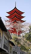 Japan, Miyajima, Itsukushima Temple Five story pagoda