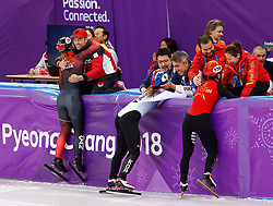 February 17, 2018 - Gangneung, South Korea - Short track speed skaters Kim Boutin of Canada, Minjeong Kor of Korea and Jinyu Chn of China celebrate with there coaches during the Ladies Short Track Speed Skating 1500M finals at the PyeongChang 2018 Winter Olympic Games at Gangneung Ice Arena on Saturday February 17, 2018.  Kim Boutin of  Canada bronze medal, Minjeong Kor of Korea gold medal and Jinyu Chn of China silver medal. (Credit Image: © Paul Kitagaki Jr. via ZUMA Wire)
