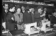 07/02/1964<br /> 02/07/1964<br /> 07 February 1964<br /> Tour of Brother International Factory at Santry, Co. Dublin. Included are Miss M. Connolly, (Boyers); Mrs D.C. Sweeney, (Cork); Miss J. McGarry (Queens Old Castle, Cork); Mr C.J. Magian, (Sewing Machine Centre); Mr J. Duane, (Arnotts); Mr D.C. Sweeny (Cork) and Works Manager, J. Quinn (Background).