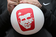 a Balloon of Roland Duchâtelet is  blown up before being thrown onto the pitch before k/o. Skybet football league championship match, Charlton Athletic v Brighton & Hove Albion at The Valley  in London on Saturday 23rd April 2016.<br /> pic by John Patrick Fletcher, Andrew Orchard sports photography.