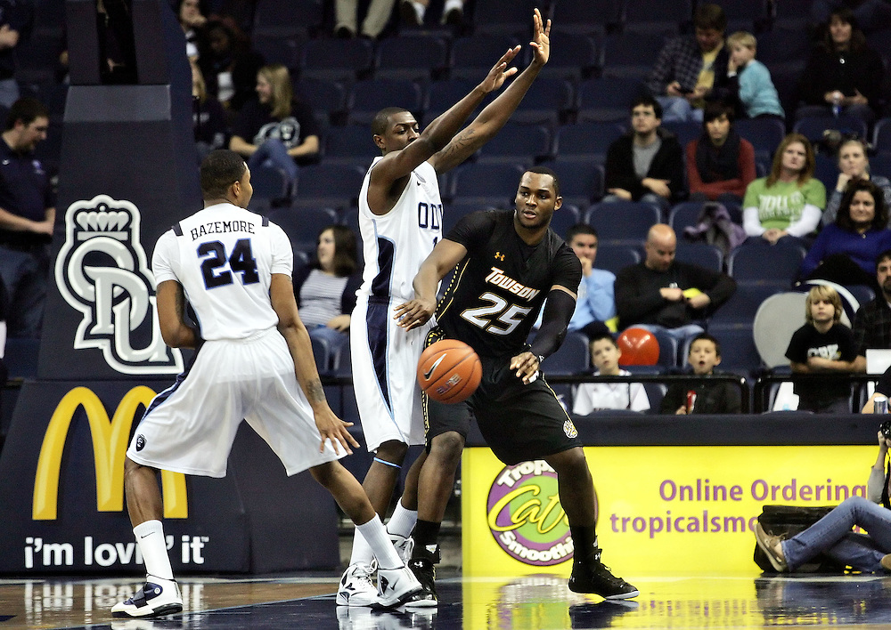 Jan 7, 2012; Norfolk, VA, USA; Towson Tigers forward Robert Nwankwo (25) against the Old Dominion Monarchs at the Ted Constant Convocation Center. Mandatory Credit: Peter Casey-US PRESSWIRE
