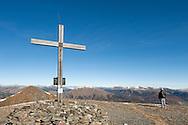 Large cross on the summit of the Rodresnock (2310m), Nockberge National Park, a UNESCO Biosphere Reserve. Alpe Adria Trail, Carinthia, Austria (October 2015) © Rudolf Abraham