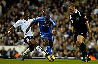Photo: Ed Godden.<br /> Tottenham Hotspur v Chelsea. The Barclays Premiership. 05/11/2006. Spurs' Didier Zokora (L) tackles Claude Makelele.