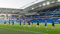 Brighton & Hove Albion during the pre-match warm-up <br /> <br /> Photographer David Horton/CameraSport<br /> <br /> The Premier League - Brighton & Hove Albion v Manchester City - Saturday 11th July 2020 - The Amex Stadium - Brighton<br /> <br /> World Copyright © 2020 CameraSport. All rights reserved. 43 Linden Ave. Countesthorpe. Leicester. England. LE8 5PG - Tel: +44 (0) 116 277 4147 - admin@camerasport.com - www.camerasport.com