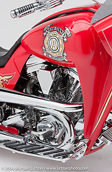 """""""Ness County Fire Engine Bike,"""" built by Arlen Ness. This fire engine themed bike was set out to make a bagger drag bike with a pro street look by Arlen. Appears in the book The King of Choppers, by Michael Lichter and Arlen Ness."""