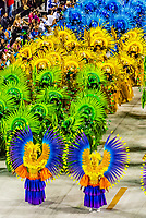 Carnaval parade of Unidos de Vila Isabel samba school in the Sambadrome, Rio de Janeiro, Brazil.