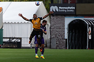 Newport County's Tristan Abrahams (11) under pressure from Tranmere Rover's Liam Ridehalgh (3) during the EFL Sky Bet League 2 match between Newport County and Tranmere Rovers at Rodney Parade, Newport, Wales on 17 October 2020.