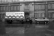 17/03/1965<br /> 03/17/1965<br /> 17 March 1965<br /> NAIDA St. Patrick's Day Parade, Dublin. W. D.& H. O. Wills float  and van for the parade parked outside the Wills Tobacco Factory on the South Circular Road, the truck is a Dublin Port and Docks Scammmel Scarab.