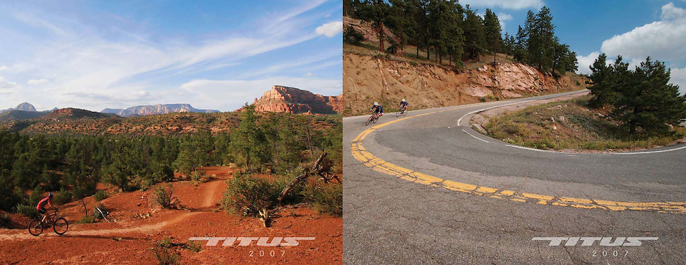 Front and back covers from the 2007 Titus bicycles catalog, shot in various locations from Sedona AZ, to Phoenix and Colorado.
