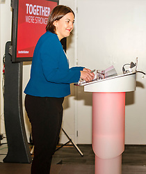 Pictured: Kezia Dugdale<br /> <br /> Scottish Labour leader Kezia Dugdale and deputy leader Alex Rowley had t make swift changes to their respective speeches forllowing the announcement of a General Election in June just before they headed to the lectern at Edinburgh's Dynamic Earth to launch Scottish Labour's council election campaign today. <br /> Ger Harley   EEm 18 April 2017