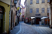 Empty streets in the city center of Prague, close to Old-Town Square. On March 1st, 2021 the state of emergency in the Czech Republic was reinstalled because of fast increasing numbers in infections. The lockdown was reinstated and the restriction of the free movement of people has taken effect. Currently, the country remains at the highest stage of the anti-epidemiological system and the newly imposed restriction will last at least three weeks to curb the epidemic.