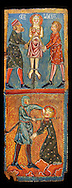 Gothic painted wood panels with scenes of the Martyrdom of Saint Lucy<br /> Circa 1300. Tempera on wood. Date Circa 1300. Dimensions 66 x 25.8 x 2 cm. From the parish church of Santa Llúcia de Mur (Guàrdia de Noguera, Pallars Jussà). National Museum of Catalan Art, Barcelona, Spain, inv no: 035703-CJT.<br /> <br /> If you prefer you can also buy from our ALAMY PHOTO LIBRARY  Collection visit : https://www.alamy.com/portfolio/paul-williams-funkystock/romanesque-art-antiquities.html<br /> Type -     MNAC     - into the LOWER SEARCH WITHIN GALLERY box. Refine search by adding background colour, place, subject etc<br /> <br /> Visit our ROMANESQUE ART PHOTO COLLECTION for more   photos  to download or buy as prints https://funkystock.photoshelter.com/gallery-collection/Medieval-Romanesque-Art-Antiquities-Historic-Sites-Pictures-Images-of/C0000uYGQT94tY_Y