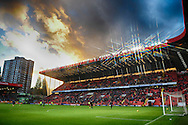 a general view of Sunset over The Valley Stadium before 2nd half starts. Skybet football league championship match, Charlton Athletic v Sheffield Wednesday at The Valley  in London on Saturday 7th November 2015.<br /> pic by John Patrick Fletcher, Andrew Orchard sports photography.