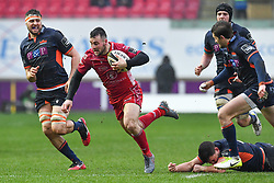 Ryan Conbeer of Scarlets in action during todays match<br /> <br /> Photographer Craig Thomas/Replay Images<br /> <br /> Guinness PRO14 Round 11 - Scarlets v Edinburgh - Saturday 15th February 2020 - Parc y Scarlets - Llanelli<br /> <br /> World Copyright © Replay Images . All rights reserved. info@replayimages.co.uk - http://replayimages.co.uk