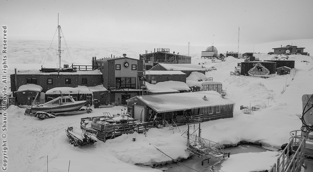 Palmer Station from the deck of the Laurence M. Gould icebreaker