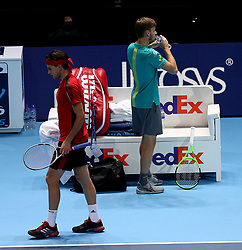 November 17, 2017 - Londres, Grande Bretagne - Great Britain - London - NITTO ATP FINALS 2017- 12/11 - 19/11/2017 -  Belgian player David Goffin pictured during his third round robin match against Dominic Thiem at the NITTO ATP FINALS 2017. (Credit Image: © Panoramic via ZUMA Press)