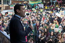 © Licensed to London News Pictures . 12/11/2016 . Manchester , UK . ANDY BURNHAM , MP for Leigh and candidate for Mayor of Greater Manchester , speaks at the rally . Approximately 2000 people march and rally against Fracking in Manchester City Centre . Photo credit : Joel Goodman/LNP