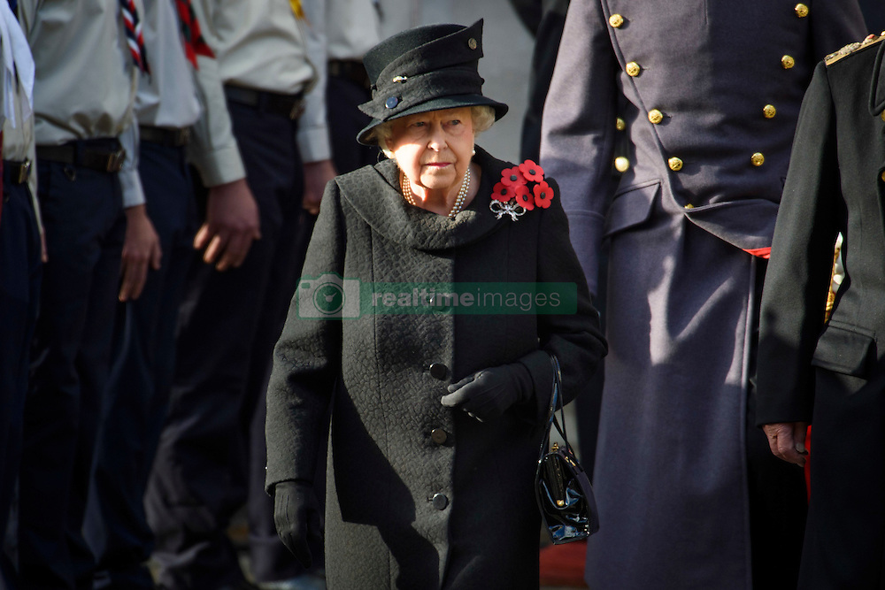The Queen during the annual Remembrance Sunday Service at the Cenotaph memorial in Whitehall, central London, held in tribute for members of the armed forces who have died in major conflicts. Picture date: Sunday November 13th, 2016. Photo credit should read: Matt Crossick/ EMPICS Entertainment.