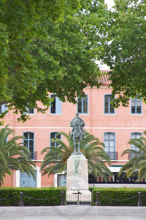 Statue of Marechal General Joseph Jacques Cesaire Joffre on horse. Rivesaltes town, Roussillon, France