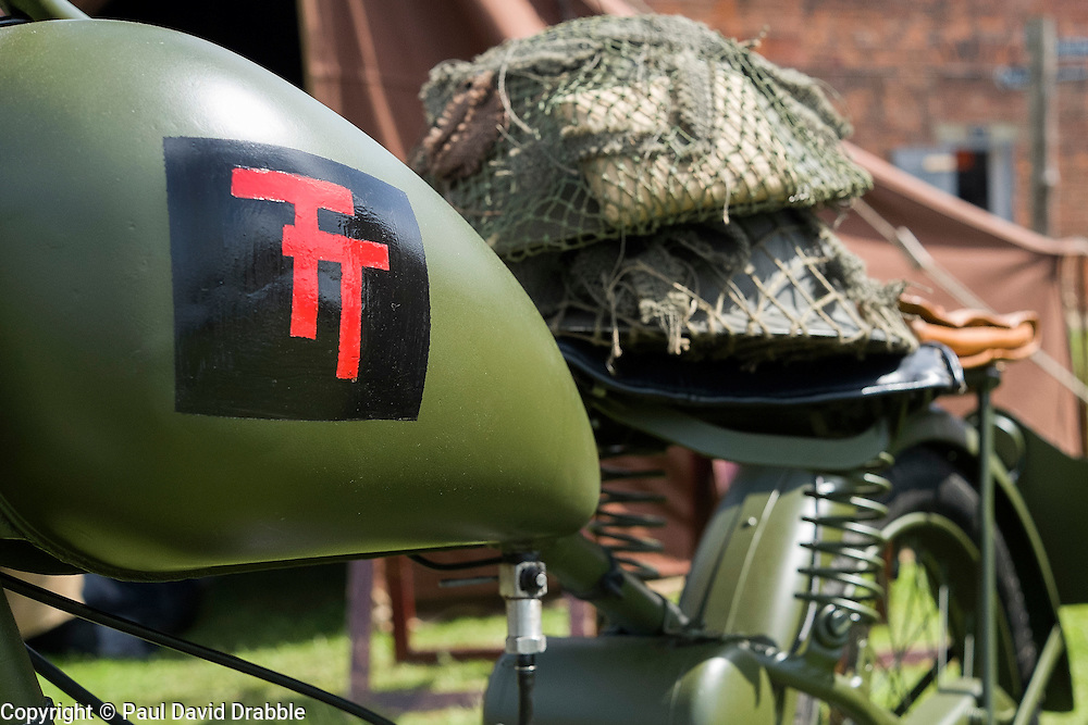 61st Reconnaissance Regiment Living History Group display, motorcycle marked with the British 50th Division patch <br /> <br />   04May 2015<br />   Image © Paul David Drabble <br />   www.pauldaviddrabble.co.uk