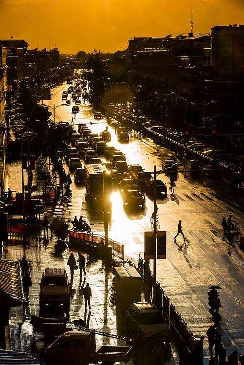 Street scene, Beijing East Road, Lhasa (Xizang), Tibet (China).