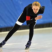 September 18, 2010 - Kearns, Utah - Sophie Webb races in long track speedskating time-trials held at the Utah Olympic Oval.