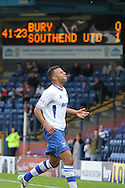 Bury's Tom Soares demonstrates his frustration leading up to half-time. Skybet football league two match, Bury v Southend Utd at Gigg Lane in Bury, England on Sat 21st Sept 2013. pic by David Richards/Andrew Orchard sports photography